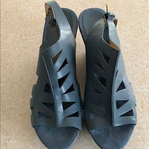 Soft blue leather wedge sandals size 9 1/2